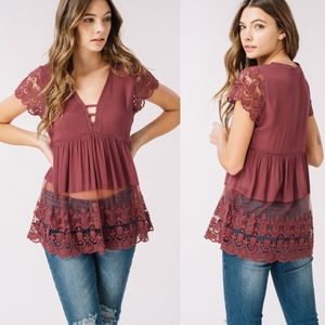 BELLANBLUE Tops - SOPHIE Lace Detail Top - EGGPLANT